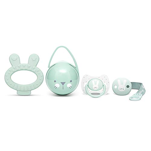 Suavinex Set Premium Recién Nacido con Chupete fisiológico silicona 0-6 meses, Broche, Portachupetes y Mordedor, verde