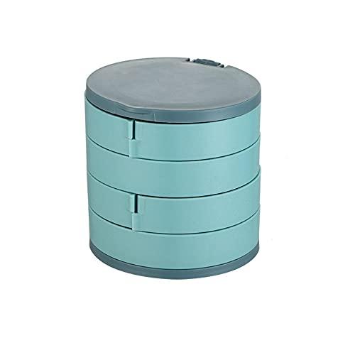 Soporte de joyería de plástico Giratorio Multicapa Caja de Almacenamiento de Joyas Pendientes Caja de Anillo Cosméticos Organizador de contenedores de Belleza con Espejo C 10 * 10cm