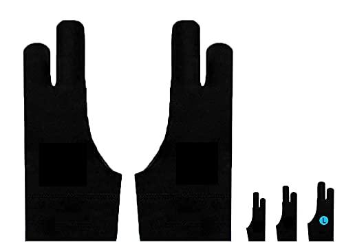 Auskang Zeichenhandschuh [2 Stück] Antifouling-Handschuh, Anti Misstouch, Elastische Handschuhe für Handzeichnung, Drawing Tablet, Grafiktablett und Andere, für sowohl rechte als auch Linke Hand (L)