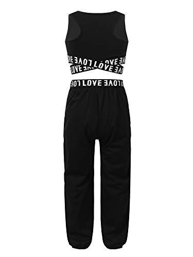 MSemis Teenager Mädchen Jogginganzug Trainingsanzug Sportanzug Jogger Crop Top Sport Weste mit Leggings Streetwear für Tanz Yoga Jogging Schwarz 146-152