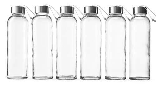 Epica 510 ml Glasflaschen für Getränke, 6 Stück (Getränkegläser + Trageverschluss)