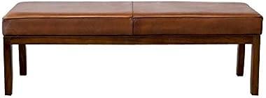 ASHCROFT Mid-Century Modern Cognac Tan Asher Genuine Leather Bench