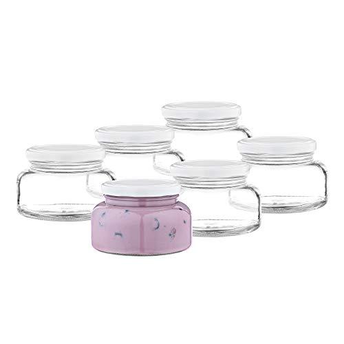 MamboCat 6-delige set yoghurt- en dessertglas 435 ml + TO82 deksel wit I voorraadpotenset I keukenkruiden & specerijen I dips & dressing I kookaccessoires