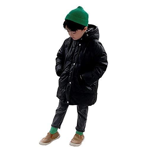 Cera cálida de los niños Abrigo de abajo, chaqueta de luz de luz de invierno para niños chaqueta con capucha moda casual moda suave impermeable a prueba de viento a prueba de viento abajo, negro, 110