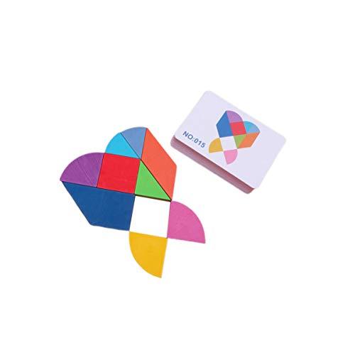 STOBOK Montessori Tangram Toys Bloques de Madera Set Rompecabezas Geométrico Kindergarten Juguete Educativo (Tangram de Diseño de Corazón de Amor)