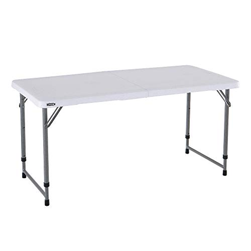 Lifetime 4428 Mesa plegable multiusos resistente UV100, blanco, 122x61x60/74/90 cm
