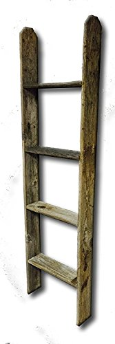 Old Farmhouse 4' Tall Primitive Barnwood Display Ladder Authentic Weathered Wood