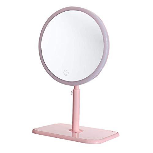 Espejo de maquillaje portátil flexible USB espejo de maquillaje LED luz táctil regulable base de almacenamiento para mujeres chica señora madre