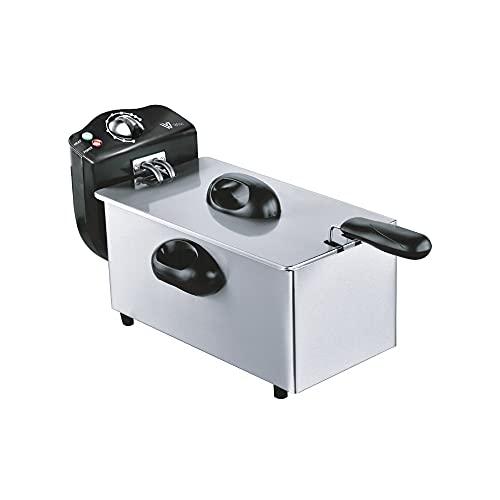 Freidora 3 litros, acero inoxidable, temperatura regulable 80º-190ºC, 2000w