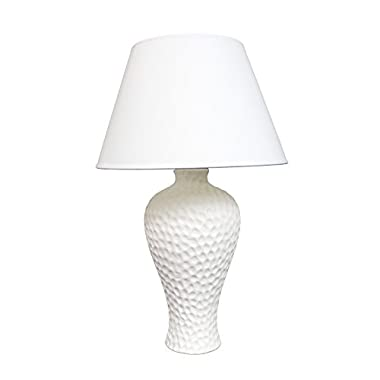 Simple Designs LT2004-WHT Texturized Curvy Ceramic Table Lamp, White