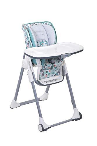 Graco Swift Fold Hochstuhl mit Tisch, Kinderhochstuhl Baby mit Liegefunktion, zusammenklappbar, mitwachsend, abnehmbares Tablett für Spülmaschine, Kinderstuhl abwaschbar, Muster pastellfarben, Rubix