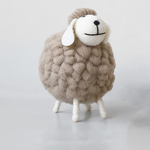 Felted Wool Sheep Decorative Figurines  The Sheep Statuette Irish Plush Sheep Felt  Standing Felted Sheep Ornaments Birthday Gift(L Grey)