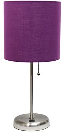 Limelights LT2044 PRP Stick USB Charging Port and Fabric Shade Table Lamp Brushed Steel Purple product image