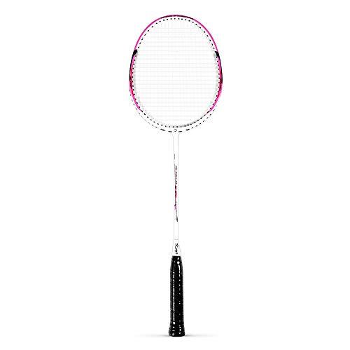 Keys Shielo - Raqueta de bádminton integrada de aluminio de carbono para amantes de la pala media y avanzada, rosa