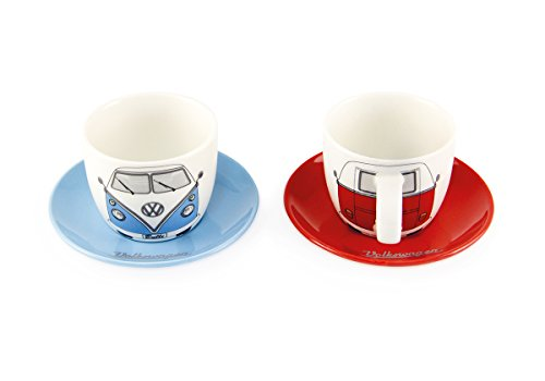 BRISA VW Collection Volkswagen T1 Bus Transporter Espressokopje 2-pc Set 100ml - front/rood & blauw