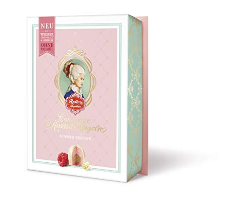 Reber Weiße Constanze Mozart-Kugeln, Pralinen aus weißer Schokolade, Himbeere, Marzipan, Nougat, Tolles Geschenk, 6er-Packung