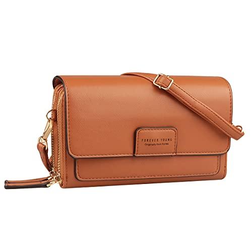 Petit sac à bandoulière pour téléphone Sac à bandoulière pour femme petit portefeuille avec 2 sacs de téléphone en cuir PU à fermeture éclair avec fentes pour cartes de crédit (Marron)