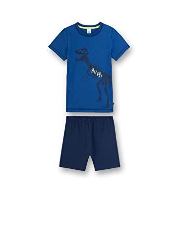 Sanetta Jungen Pyjama kurz Zweiteiliger Schlafanzug, Blau (blau 519), 98 (Herstellergröße:098)