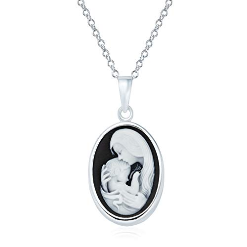 Delicate Petite Victorian Vintage Antique Style Black White Craved Mother and Child Loving Cameo Pendant Son Daughter Necklace For Women 925 Sterling Silver