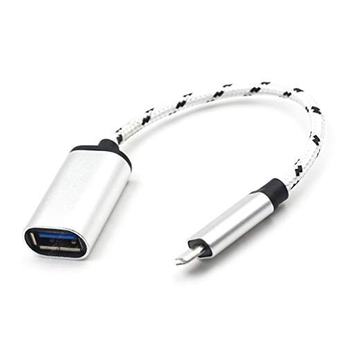 PRO OTG Adapter Works with Samsung Galaxy Tab S6 Lite for OTG and USB Type-C Braided Cable. Use with Devices Like Keyboard, Mouse, Zip, Gamepad, hdmi, More (Silver)