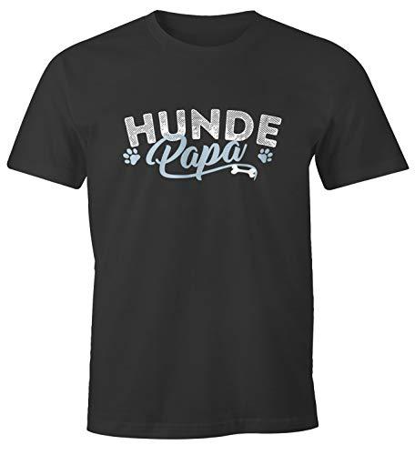 MoonWorks® Herren T-Shirt Hunde Papa lustiges Hunde Motiv Gassi Shirt anthrazit XL