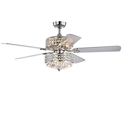 Warehouse of Tiffany CFL-8371REMO/CHD Germane Chrome Dual Lamp 52-inch Lighted w Crystal Shades (incl. Remote & 2 Color Option Blades) Ceiling Fan, One Size