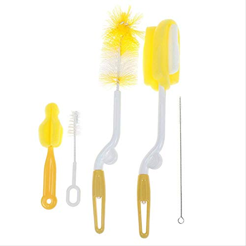 5pcs/Set Plastic Baby Bottle Brush Sponge Glass Cup Milk Clearing Newborn Feeding Nipple Straw Mother Kids Products Accessories yellow