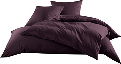Mako-Satin Baumwollsatin Bettwäsche Uni einfarbig zum Kombinieren (Kissenbezug 80 cm x 80 cm, Brombeer) viele Farben & Größen