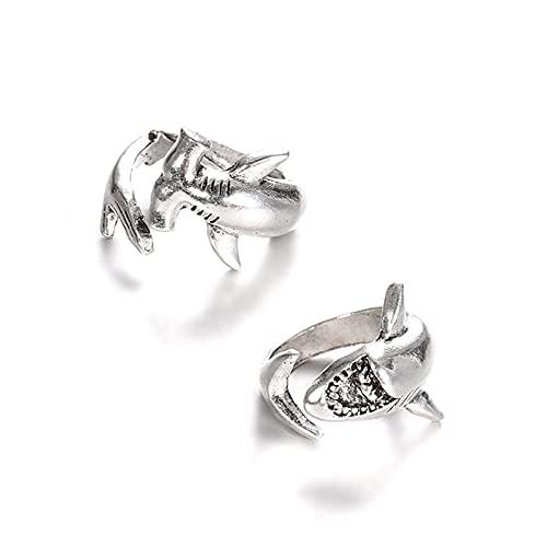 Bangong Anillos de aleación abiertos tiburón blanco y martillo, anillo de tiburón conjunto océano animal personalidad joyería regalo para las mujeres