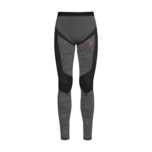 Odlo Herren Blackcomb Evolution Warm Pants Sporthose, Mehrfarbig (Black/Concrete Grey/Orangeade-Pt 60105), 44 (Herstellergröße: Large)