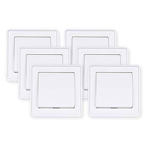 HEITECH Unterputz Wechselschalter in weiß - 6er Pack Schalter 250V AC, 10A, inkl. Rahmen, Unterputz-Einsatz & Abdeckung - Lichtschalter, Wippschalter, Kippschalter, Unterputzschalter