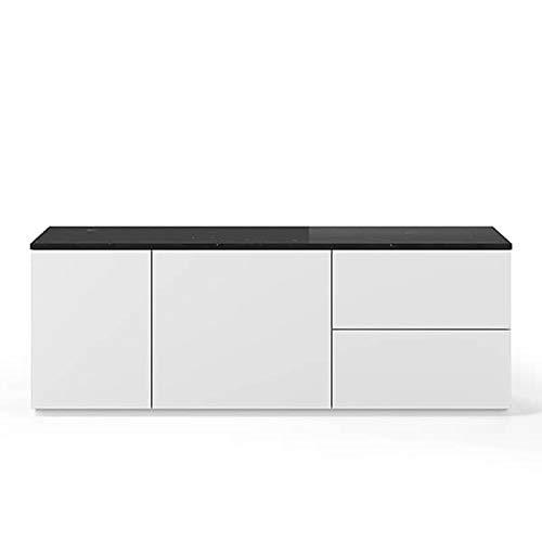 Buffets Design et élégants, Collection Join, signée TEMAHOME. - Join 160L2, Base Classique, Blanc Mat, Plateau en marbre Noir