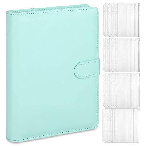 A5 Carpeta de cuero para cuaderno con 16 bolsillos de plástico A5, 6 anillos redondos, sistema de sobres de presupuesto, a5..