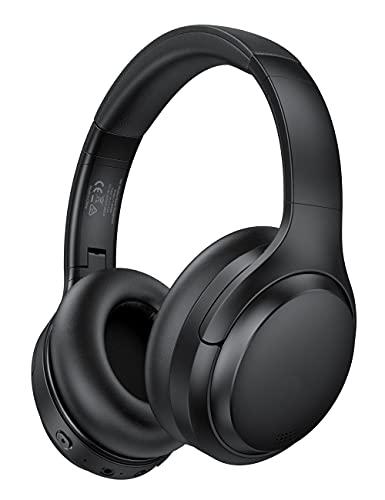 Cuffie Bluetooth Hybrid Active Noise Cancelling, 35 ore di riproduzione, ricarica rapida, cuscinetti auricolari con proteine morbide, microfono integrato, suono stereo Hi-Fi, wireless 5.0 pieghevoli