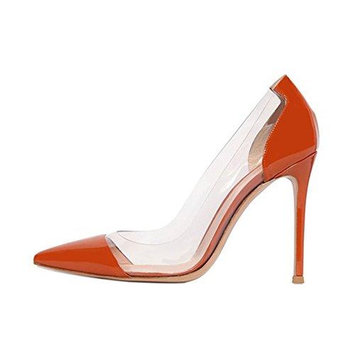 EDEFS Damenschuhe High Heels Transparent Pumps mit Clear Crystal PVC Film Schuhe Orange Größe EU42