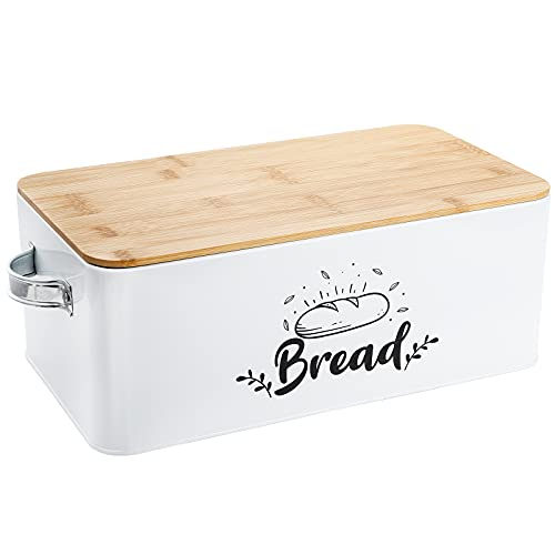 Bekith Bread Box with Bamboo Lid, Modern Metal Bread Storage Bread Bin with Handles for Kitchen Countertop - Space Saving Bread Holder for Kitchen Counter - Keeps Bread Fresher For Longer