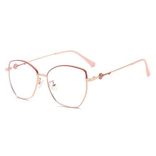 NJKJ Anteojos Lente De Miopía Poligonal Con Bloqueo De Luz Azul Gafas Graduadas Para Mujer Gafas Miopes De Metal 0-0.5 -0.75 A -6.0-Red_Rose_Gold_Custom_Prescription