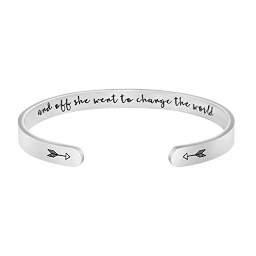 Joycuff Inspirational Graduation Gift for Her Personalized Going Away Bracelet Engraved Cuff and Off She Went to Change The World