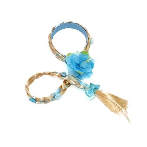 Odoukey una Princesa Niño Peluca Peluca Larga Peluca con Trenzado Trenzado Accesorios para el Cabello de los niños de Vestir Girl (Azul)