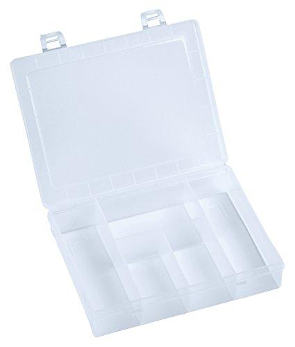 hünersdorff Sortimentskasten: stabile Sortierbox (PP) mit fester Fachaufteilung (5 Fächer), Sortierkasten-Maße: T140 x B180 x H40 mm, Made in Germany