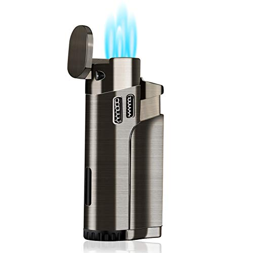 Torch Lighter Refillable Fuel Butane Torch Lighters Quad 4 Jet Lighter with Punch Gas Fluid Torch...