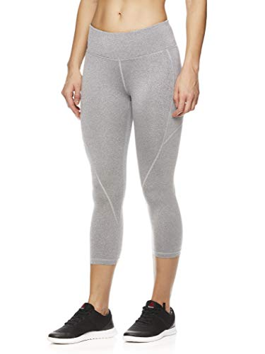 Reebok Women's Printed Capri Leggings with Mid-Rise Waist Cropped Performance Compression Tights - Grey Heather, Small