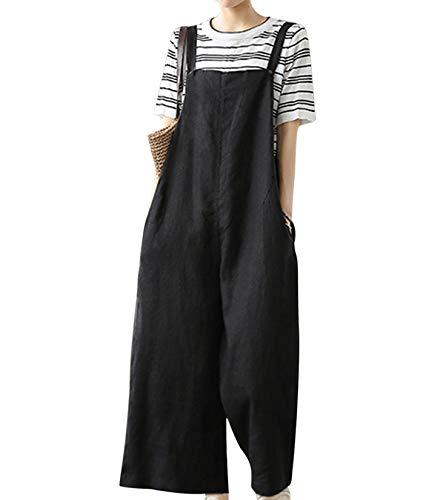 YESNO Women Casual Loose Bib Pants Wide Leg Jumpsuits Rompers Overalls/w Pockets PZZTYP1 (L, B-Black)