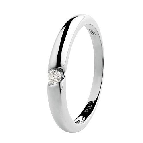 Ardeo Aurum Damenring aus 585 Gold Weißgold mit 0,07 ct Diamant Brillant Verlobungsring Solitär-Ring