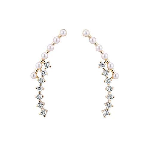 Pendientes De Diamantes De Perlas De Viento Frío De Temperamento Simple Diseño De Celebridades Netas Pendientes De Circonita De Aguja De Plata De Moda De Alta Gama