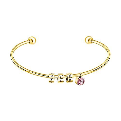 Chtom Pulsera Personalizada Personalizada Letra Personalizada Beads de Acero Inoxidable Cuff Bangle 12 Colores Piedra de Nacimiento Nombres Grabados Grabados (Color : Gold, Size : Feb. Birthstone)