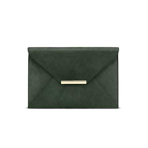 Anna Smith Envelope Clutch Bags für Frauen, Abnehmbarer Kettenriemen Magnethaken Prom Casual Damen Flap Bag Faux Wildleder Abendtasche mit innerer Reißverschlusstasche