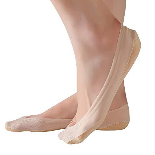 RIIQIICHY Damen Baumwolle Socken kurze unsichtbare Söckchen atmungsaktiv Beige Schwarz 4 Pack 6 Paar Socken set mit Rutschfest Silikon für Alltag und Pumps
