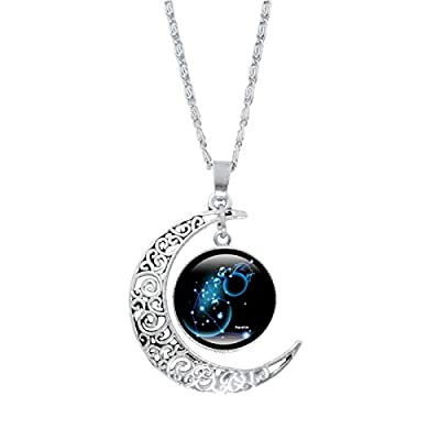 12 Constellation Moon Necklace Gifts Astrology Galaxy & Crescent Moon Glass Bead Pendant Necklace for Mom Present Women Her Girls (Aquarius (Jan 20 - Feb 18))