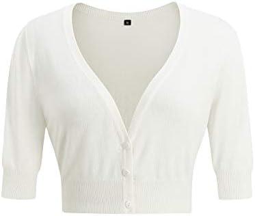 Arach Cloz Women s Casual Cropped Bolero Short Sleeve V Neck Button Down Knitting Cardigan Sweater product image